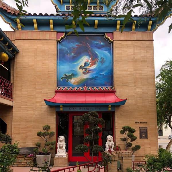 洛杉矶唐人街中心广场黄齐耀壁画